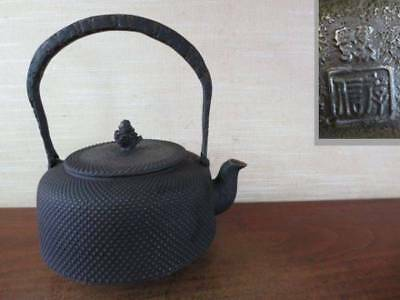 Japanese Antique KANJI old Iron Tea Kettle Tetsubin teapot Chagama 2474