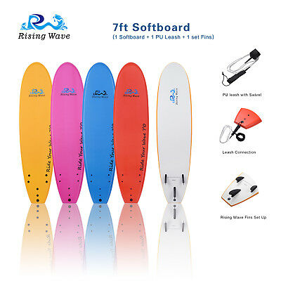 Rising Wave 7' Softboard 7ft Soft Foam surfboard with Fin & Leash in 4 Colors