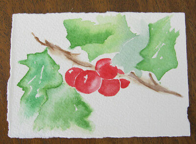 WATERCOLOUR holly CARD hand MADE art PAINT red GREEN 10.5 x 7.5 cm CRAFT hobby