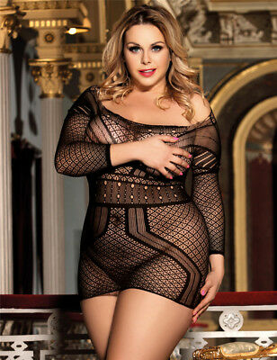 Sexy Plus Size Black Bodystocking Dress Fishnet Fetish Strappy Holes Mesh