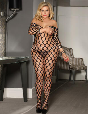 Sexy Plus Size Black Big Bodystocking Long Fishnet Fetish Strappy Holes Mesh