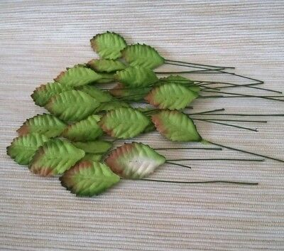 100 Mini Green Leaves Mulberry Paper Flower Crafts Embellishments Card Wedding