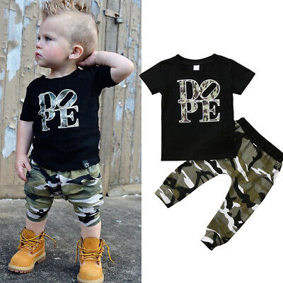 AU Toddler Kid Baby Boys Cotton Tops T-shirt Long Camo Pants Outfits Set Clothes