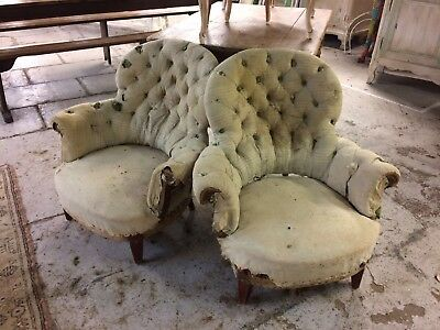 Pair Of Buttoned French armchairs, Antique, Vintage