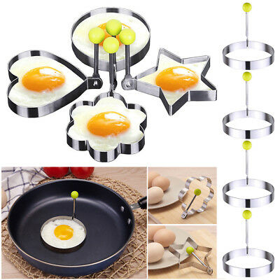 4X Stainless Steel Cooking Shaper Mould Frying Pan Fried Egg Pancake Ring Circle