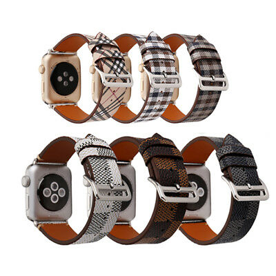 Plaid Genuine Leather Watch Band Bracelet Strap For Apple iWatch Series 5/4/3/2