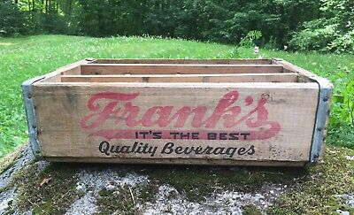 Vintage FRANK'S Quality Beverages PHILA PA Soda Drink Bottle Wooden Crate Sign
