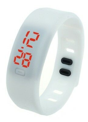 GIFTS FOR MEN Unisex Silicone Rubber LED Date Bracelet Digital Wrist Watch White