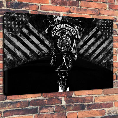 "Sons of Anarchy Flag Printed Box Canvas Picture A1.30""x20""30mm Deep Wall Art"