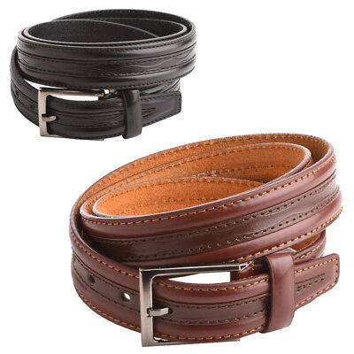 "Mens - Gents Patterned 35mm - 1.25"" Genuine Leather Backed Belt by Milano"