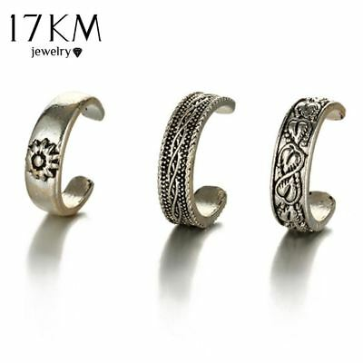 Punk Style Sexy Carved Heart Toe Ring Sets Party Rings for Women Man