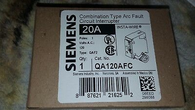 BRAND NEW SIEMENS QA120AFC Combination Type Arc Fault Circuit Interrupter - 20A