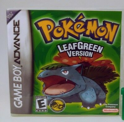 Pokemon Leaf Green Version GBA Custom Replacement CASE (*NO GAME*)