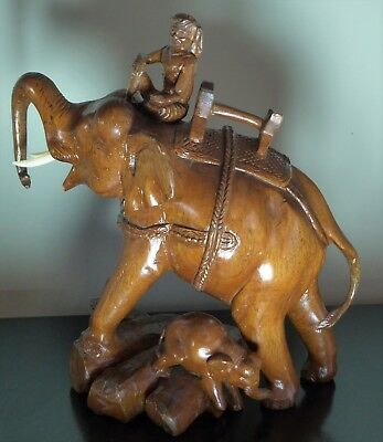 Large vintage beautifully carved wooden elephant, rider & calf figure