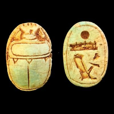 Rare Ancient Egyptian Authentic Carved Scarab Bead Seal 300 B.c. (2)