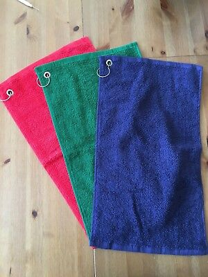 Personalised Embroidered Green, Red or Blue Golf Towel - Choose your own wording
