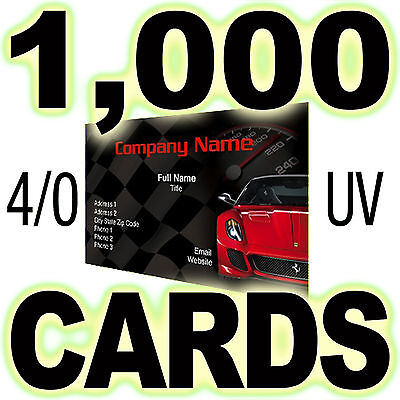 1000 Business Cards Printed Full Color 1 Side (4/0), Gloss UV Both Sides
