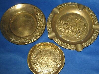 Lot 3 Antique German Embossed Solid Brass Mix Lot:  Ashtray, Plates 1 LB 4 OZ