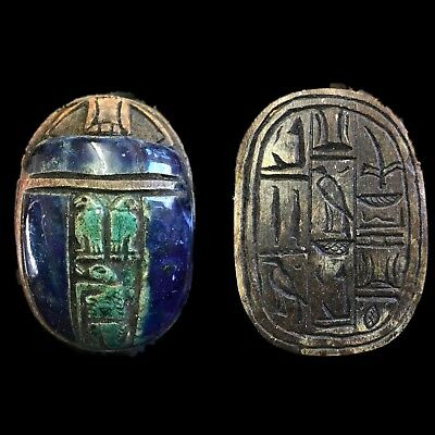 Rare Ancient Egyptian Authentic Carved Glazed Scarab Bead Seal 300 B.c. (1)