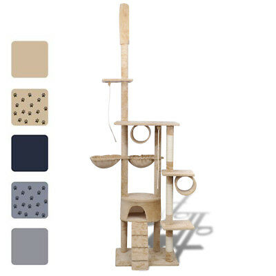 "87""-94"" Cat Tree Scratching Post Furniture 1 Condo Gray/Beige/Blue w/o Paw Print"