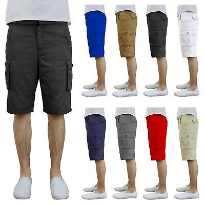 Mens Cotton Twill Cargo Shorts With Belt Flat Front Pockets NWT - Size 30-42