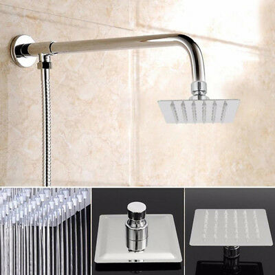 Rainfall Waterfall Luxury 4 Inch Square Rain Shower Head Chrome Finished Silver