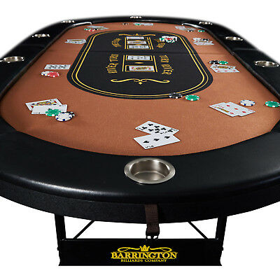 Poker Table 10 Player Texas Holdem Game Folding Casino Legs Metal Cup Holders