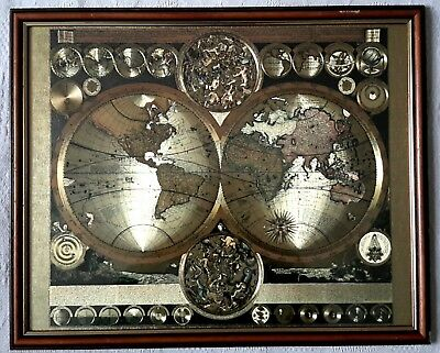Historic Celestial Old World Exploration Framed Metal Effect Map