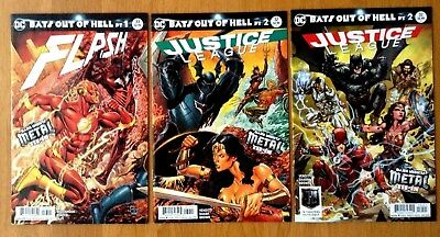 Flash 33 Cover A + Justice League 32 Covers A & B Metal Tie-In 1st Print DC NM+