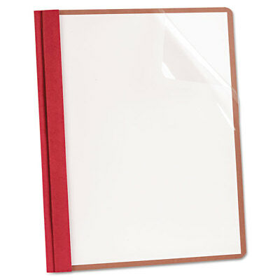 Recycled Clear Front Report Covers, Letter Size, Red, 25/Box