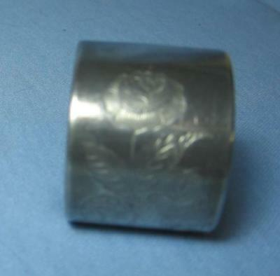 Vintage Silver Plate NAPKIN RING with Ornate WILD ROSE Repousse