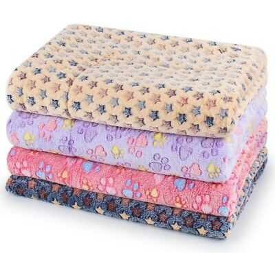 Dog Bed Pet Kennel Cushion Mat Crate Cage Pad Blue Grey Pink Tan Stars Beige S M