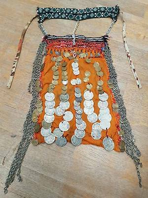 EGYPT REAL BEDOUIN WOMAN MASK NORTH SINAI ANTIQUE PRE 1900. with 1270 coins