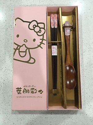 New Hello Kitty Sakura Cherry Blossoms Wooden Chopsticks Spoon Set from JAPAN