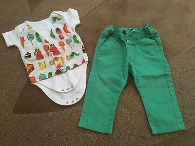 Baby Boy First Birthday Party Outfit Hungry Caterpillar 9-12 Green NEXT Chinos