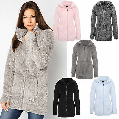 Teddy Jacke Flauschiger Mantel Kapuze Damen Fleece EWY9DH2I