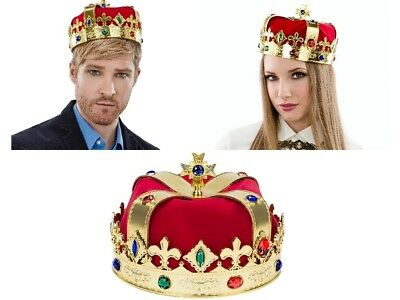 Gold King Crown Hat Prince Cap Jeweled For Adult Kids Headdress Costume Party