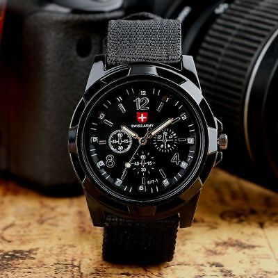 SWISS Round Dial Nylon Strap Band Men Boy Military Army Quartz Wrist Watch Gift