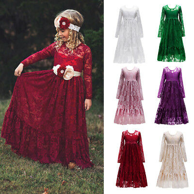 Kids Flower Girl Bridesmaid Lace Formal Long Dress For Party Wedding Communion