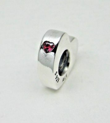 No.501 Authentic New Pandora Silver Two Hearts Spacer You & Me Charm #796559CZ