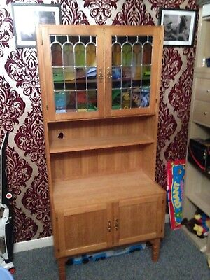 Light Oak French dresser/display cabinet, with leaded multi coloured glass