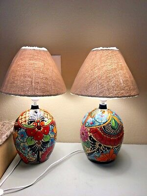 "Mexican Pottery Lamp Talavera Ceramic Light Desk Table 19"" Southwest Folk Art"