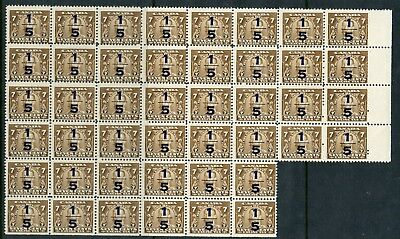 Weeda Canada FX22 Fresh MNH block of 44, 1/5 on 7c brown Excise Tax CV $308