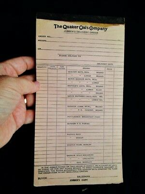 1920's QUAKER OATS COMPANY - Antique Jobbers Delivery Order Forms OATMEAL CEREAL