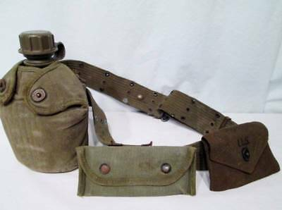 Military Issue World War II WW2 Belt Canteen Two Pouches 1944 1945 US