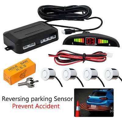 Universal Car Rear Reversing Parking Sensors 4 Sensor Kit Audio Buzzer Alarm