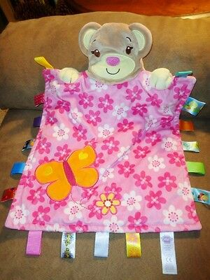 Blanket BEAR Taggies Pink Flower Butterfly Plush Security Lovey Baby Girl Tags