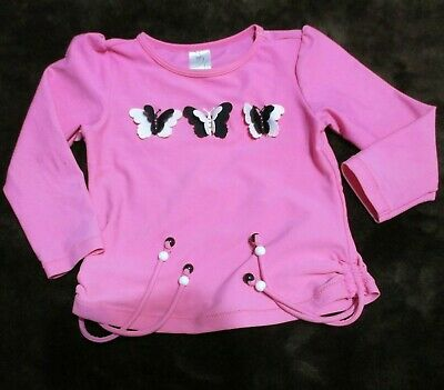 Little girls size 2 Pink long sleeved top butterfly details on the front