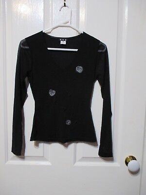 Little Girl's Black  long sleeved TOP with RIBBON Rose size 8 NCC Brand