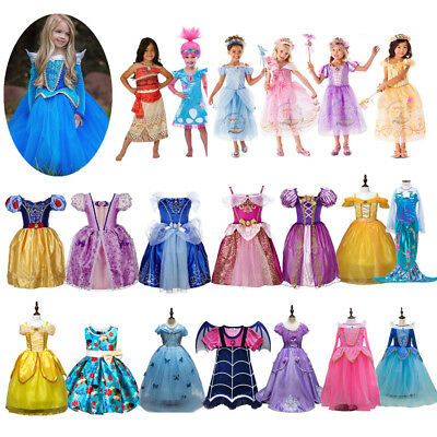 Girls Disney Princess Belle Cinderella Dress Kid Fancy Party Costume Cosplay Lot